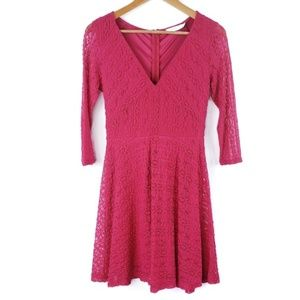 Nordstrom Lush Lace 3/4 Sleeve A Line Skater Dress